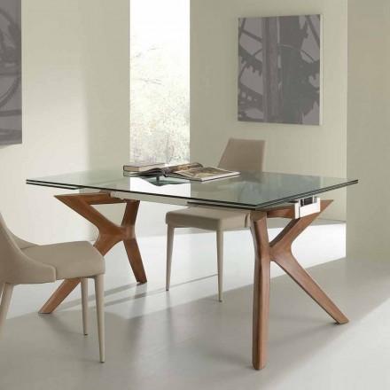 Moderne bord Extendable rustfrit stål og hærdet glas Kentucky