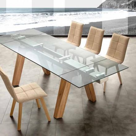 Udvideligt spisebord Florida, lavet af glas og massivt træ