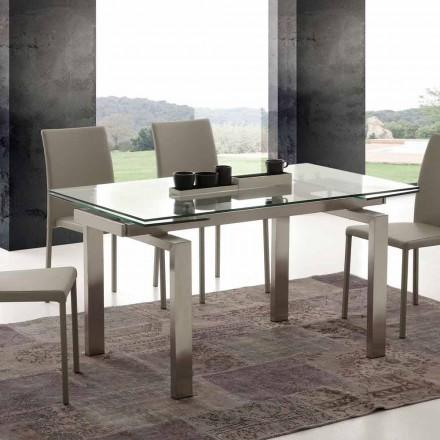 moderne spisebord i hærdet glas og rustfrit Georgien
