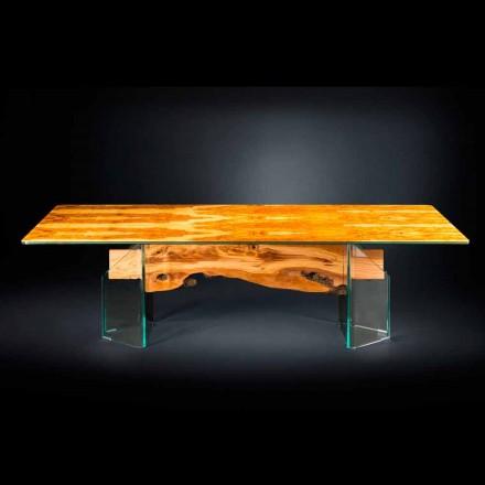 Moderne oliven træ bord, rektangulære glas Portofino