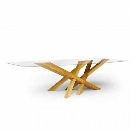 Moderne bord i glas og naturlig eg produceret i Italien Acciano