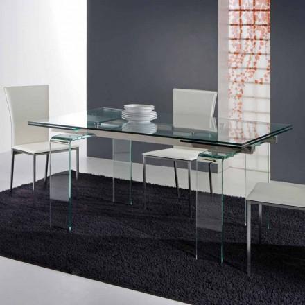 Udvidet spisebord Atlanta, helt lavet af hærdet glas