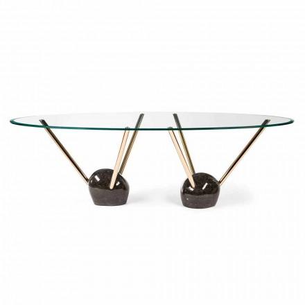 Ovale design bord med glasplade 100% Made in Italy Zoe