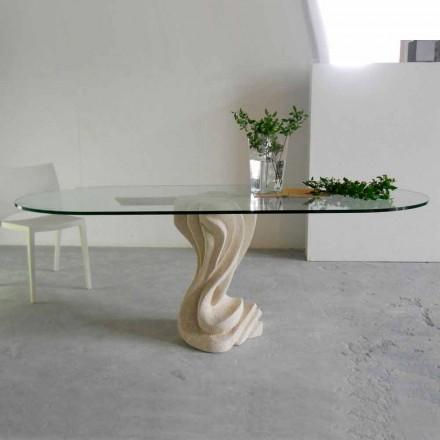 ovale sten bord med glasplade moderne design Agave