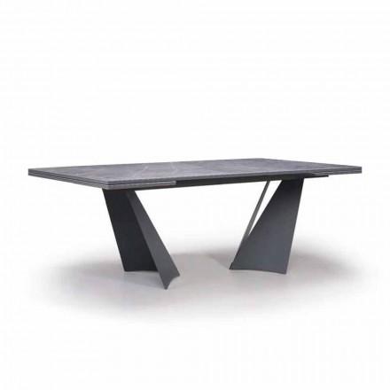 Udtrækkeligt spisebord Op til 294 cm i Gres og metal fremstillet i Italien - Nuzzio