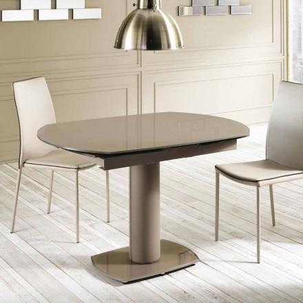 Udvidelse spisebord glas og læder, L120 / 180xP90cm, Lelia