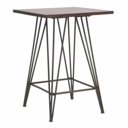 Industrielt højt firkantet bord i jern og træ - Helle