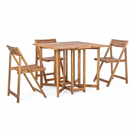 Firkantet udendørs bord i akacietræ med 4 foldestole - salvie