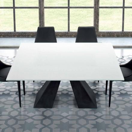 Firkantet bord i hærdet ekstra hvidt glas og stål fremstillet i Italien - Dalmata