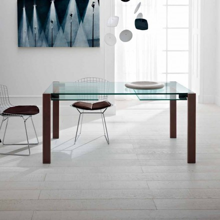 Udvideligt bord Op til 280 cm i gennemsigtigt glas fremstillet i Italien - Sopot