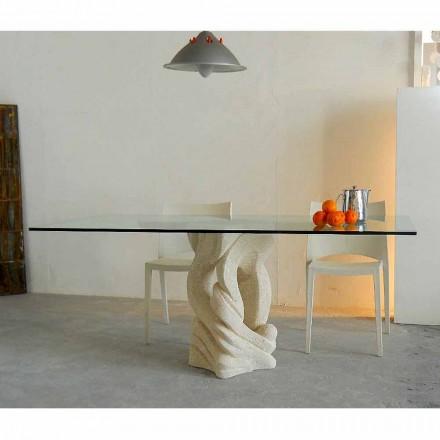 Rektangulært bord i Vicenza Ascanio sten, udskåret i mao