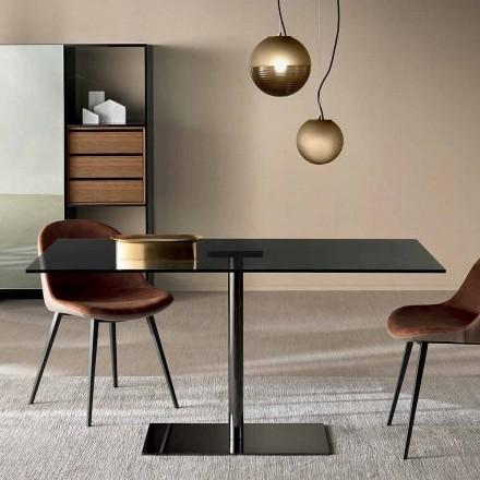 Moderne rektangulært bord i røget eller ekstrem lysglas fremstillet i Italien - Dolce