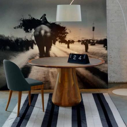 Rundt bord med massivt træ største naturlige valnød, Charles