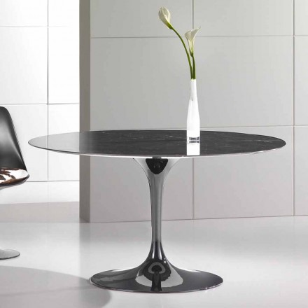Rundt spisebord i Marquinia-marmor af høj kvalitet lavet i Italien - Nerone