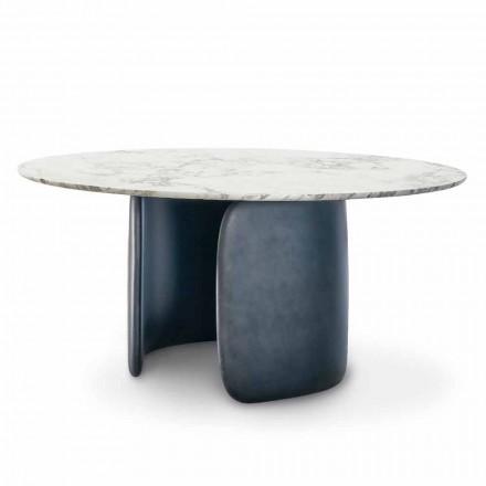 Rundt designbord med poleret marmorplade fremstillet i Italien - Mellow Bonaldo