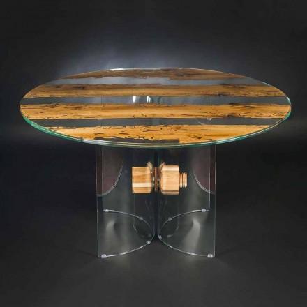 Rundt design bord af venetiansk glas og træ delfin