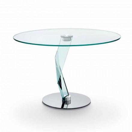 Rundt bord i moderne design i ekstra klart glas fremstillet i Italien - Akka