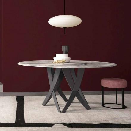 Rundt bord i Imperial Grey Marble Diameter 140 cm, lavet i Italien - Montereale