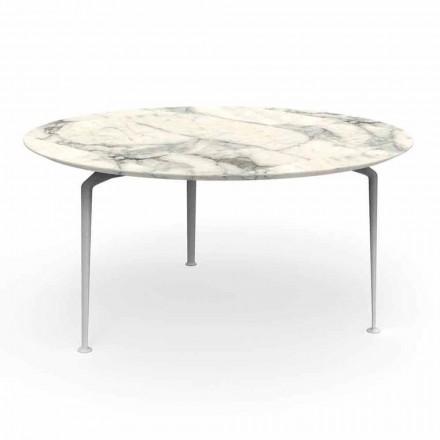 Rundt udendørs bord med moderne design stentøj og aluminium - Cruise Alu Talenti