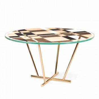 modeno Rundt bord med glasplade og Ozzy træindlæg