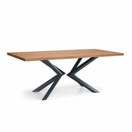 Moderne spisebord i knudeeg og metal fremstillet i Italien - Veruka
