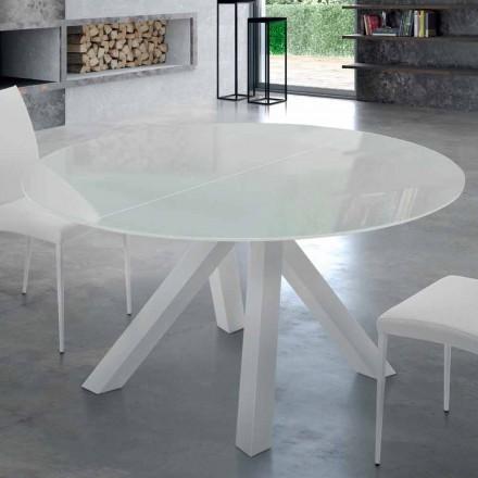 Rundt bord, der kan udvides i hærdet glas og stål fremstillet i Italien - Settimmio