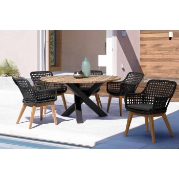 Rundt udendørs moderne bord med homemotion - Ruben Teak Wood Top