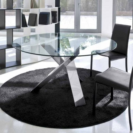 Rundt designbord d.120 glasplade lavet i Italien Cristal