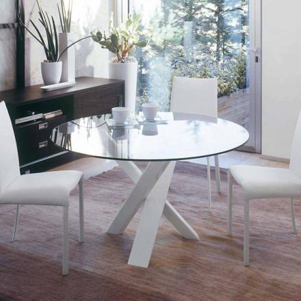 Rundt designbord d.130 glasplade lavet i Italien Cristal