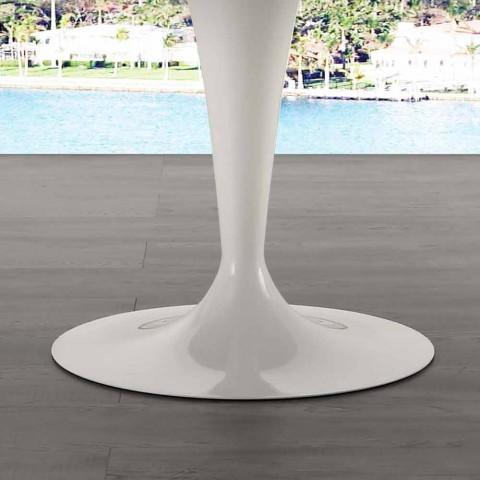 120 cm rundbord med hvid Carrara marmor top