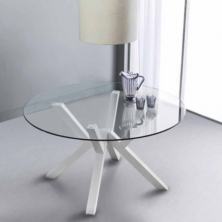 Fast rundt bord i hærdet glas og hvid bøg fast Burgos