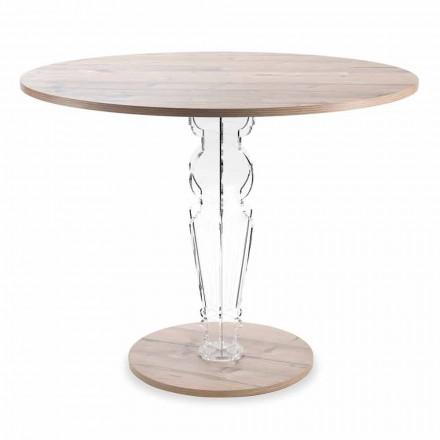 Rundt træbord og gennemsigtigt design plexiglasben - Maritozzo