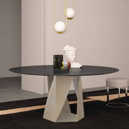 Rundt bord i havsorte marmordiameter 130 cm, fremstillet i Italien - Montedoro