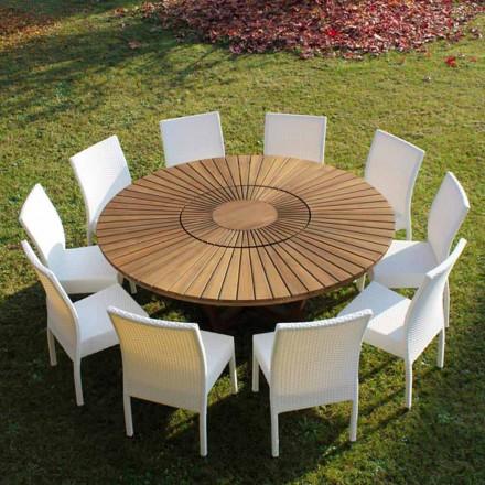 Rundt bord i teak og fast Rigtig Tabel