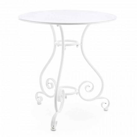 Lurvet Chich-stil rundt havebord i malet stål - charme