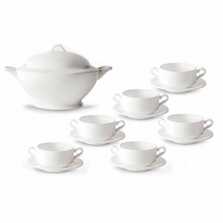 Suppekopper, Tureen og tallerken i hvidt porcelæn 13 stykker - Samantha