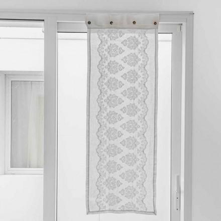 Hvid gardin i let linned med gotisk bomuldsbroderi - Gegia