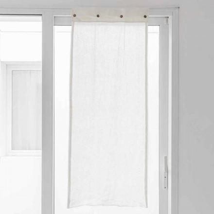 Hvid gardin i let linned og perlemorsknapper - Georgette