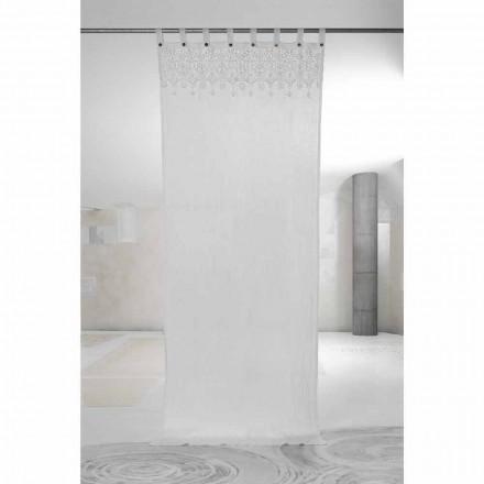 White Light Linned Gardin med Blonder af Elegant Design Fremstillet i Italien - Geogeo