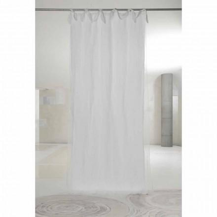 Hvid linned og organzatæppe med faner, luksuriøst design lavet i Italien - Ariosto