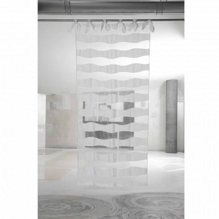 Hvid linned og organzagardin med broderi af elegant design - Oceanomare