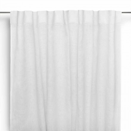 Gardin i fløde hvidt rent linned med knaphuller fremstillet i Italien - Blessy