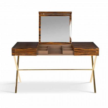 Moderne toiletbord med folde top i skinnende ibenholt Ada 3