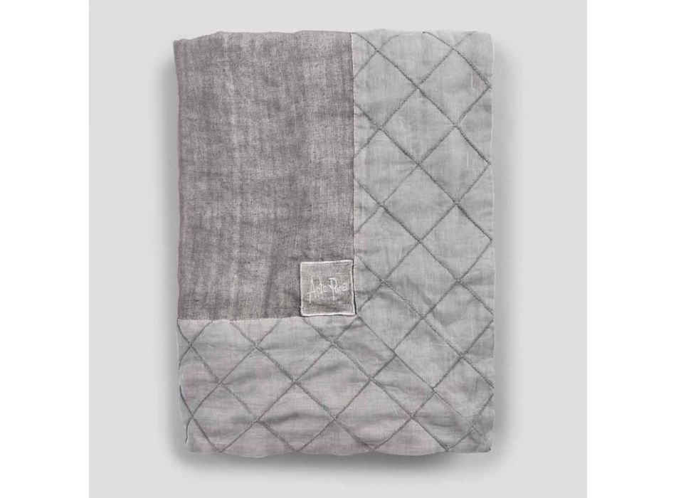 Antracit linnedug og kant med geometrisk udsmykning, håndlavet - Dippel
