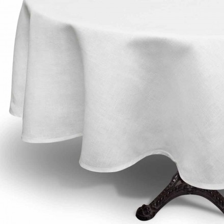 Rund creme hvid linnedduk håndlavet i Italien - Blessy