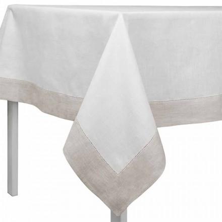 Rektangulær eller firkantet hvid og naturlig linnedduk fremstillet i Italien - Chiana
