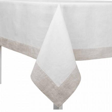 Hvid og naturlig linnedug, rektangulær eller firkantet lavet i Italien - valmue