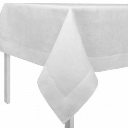 Rektangulær eller firkantet cremehvid linnedug lavet i Italien - valmue