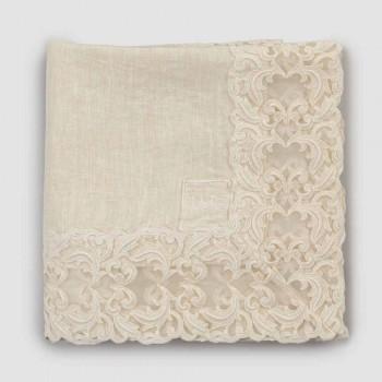 Beige linned firkantet duge med håndlavet luksus Farnese blonder - Kippel