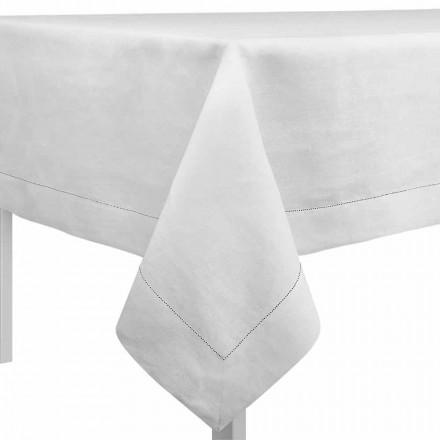 Rektangulær eller firkantet dug i fløde hvidt linned fremstillet i Italien - Chiana